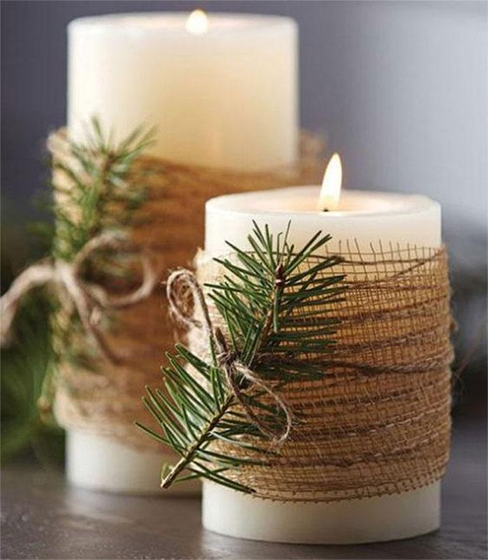 Burlap and Pine Wrapped Candles | DIY Christmas Decorations