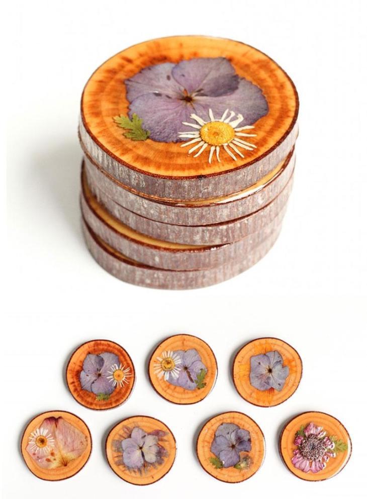 DIY Wood Slice & Dried Flower Coasters