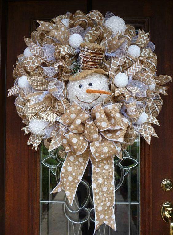 Gold Snowman Wreath