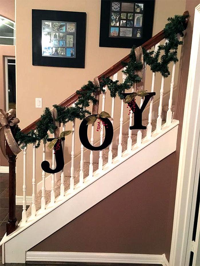 JOY Banister Garland | DIY Christmas Decorations