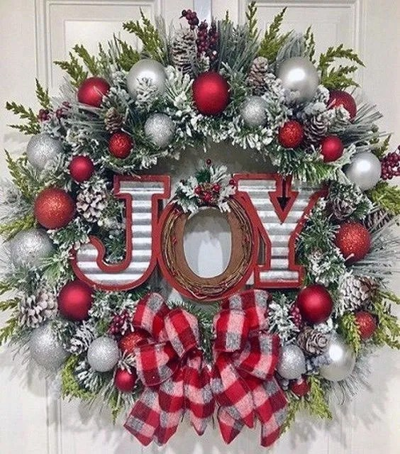 Joy Silver and Red DIY Christmas Wreath