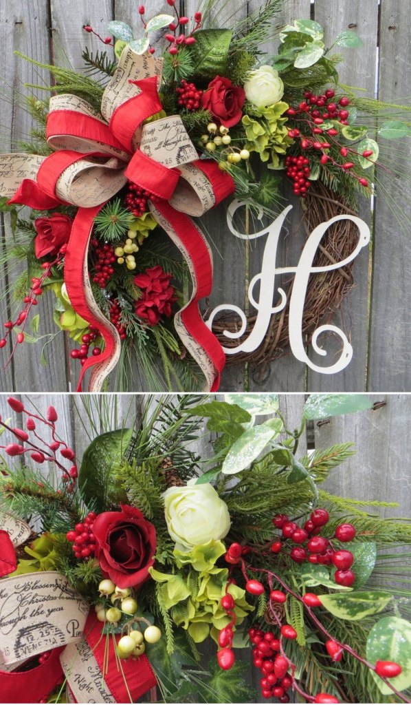 Personalized Christmas Grapevine Wreath