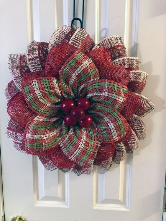 Poinsettia Christmas Flower Wreath