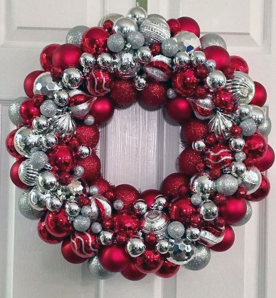 Silver and Red Christmas Ornament Wreath
