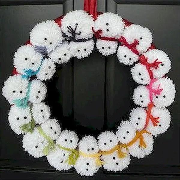 DIY Snowman Pom Pom Wreath