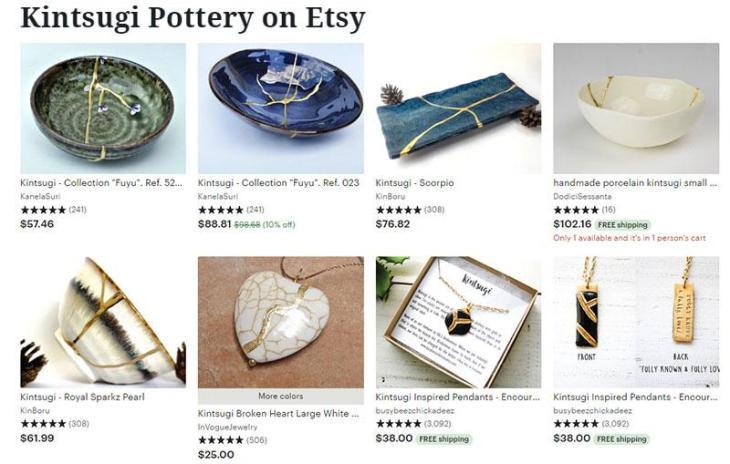 Kintsugi Pottery on Etsy