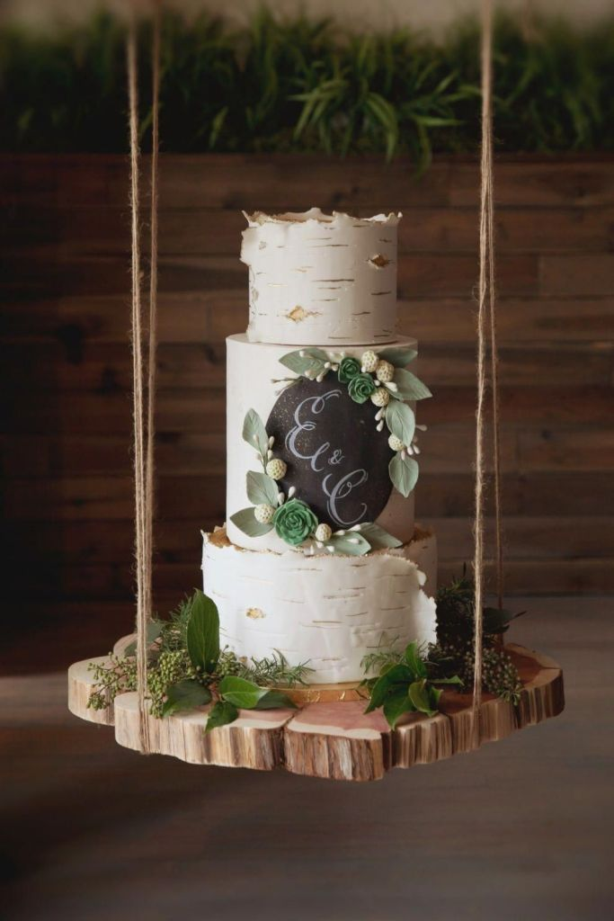 Birch Bark Rustic Wedding Cake by Alliance Bakery