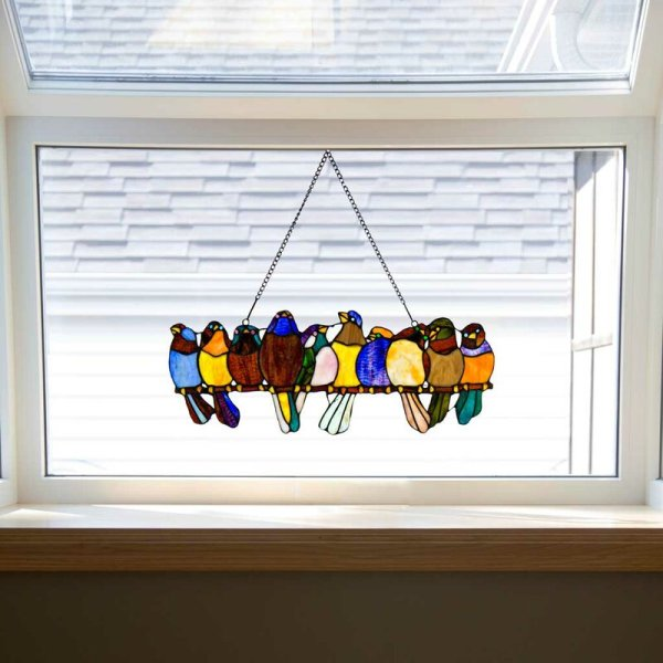 Birds On A Wire | Tiffany Style Stained Glass Window Panel