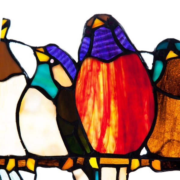 Birds On A Wire | Tiffany Style Stained Glass Window Panel Detail