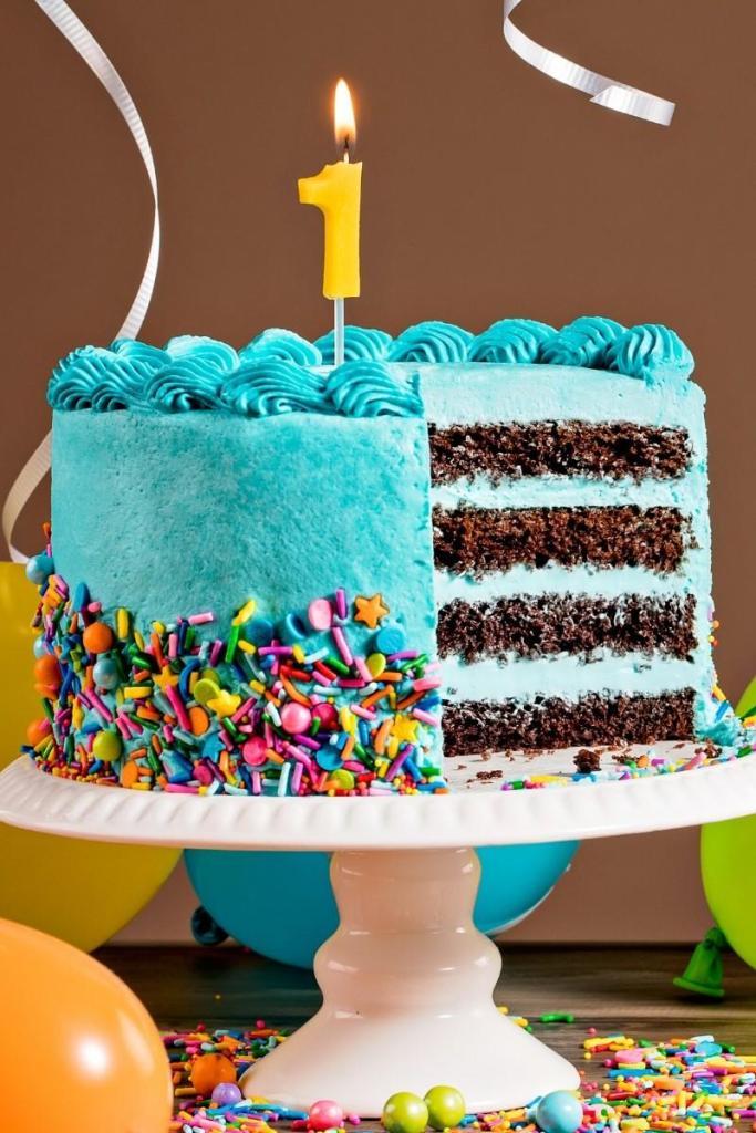 Birthday Cake Ideas for Boys - Blue Confetti Cake