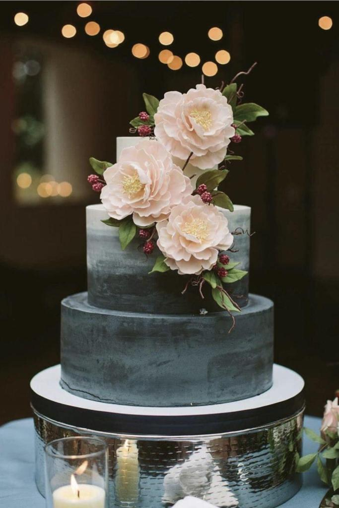 Black & White Ombre Wedding Cake by Fluffy Thoughts Cakes.