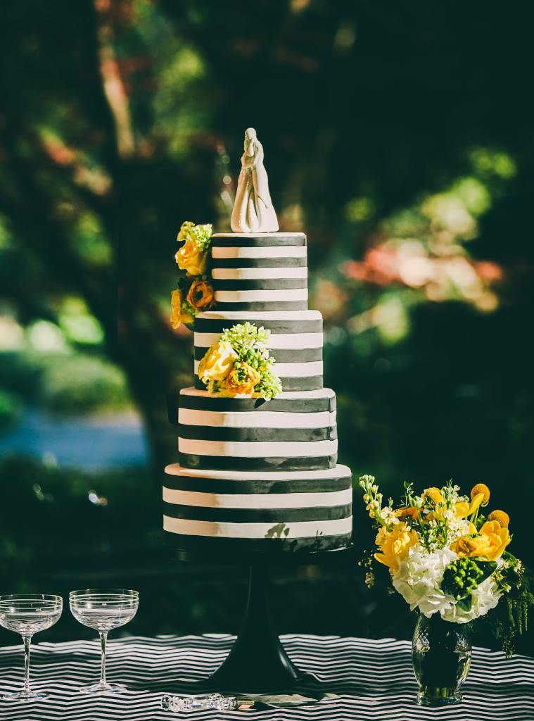 Black and White Stripes Wedding Cake