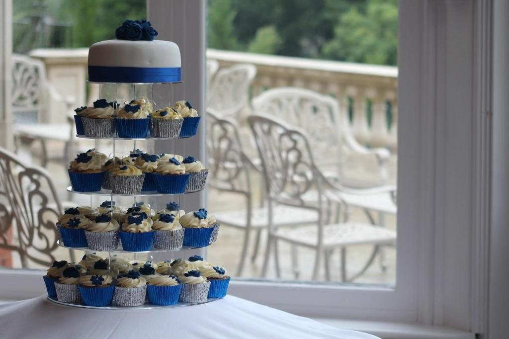 Blue and White Wedding Cake and Cupcake Combo