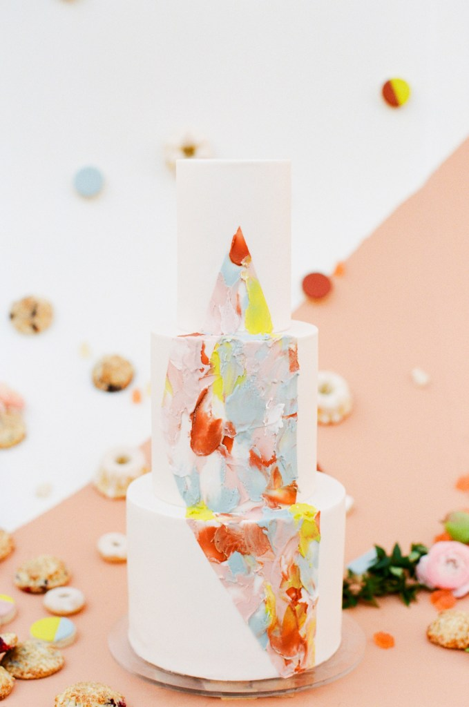 Bright Impasto Modern Art Wedding Cake by Hey There, Cupcake