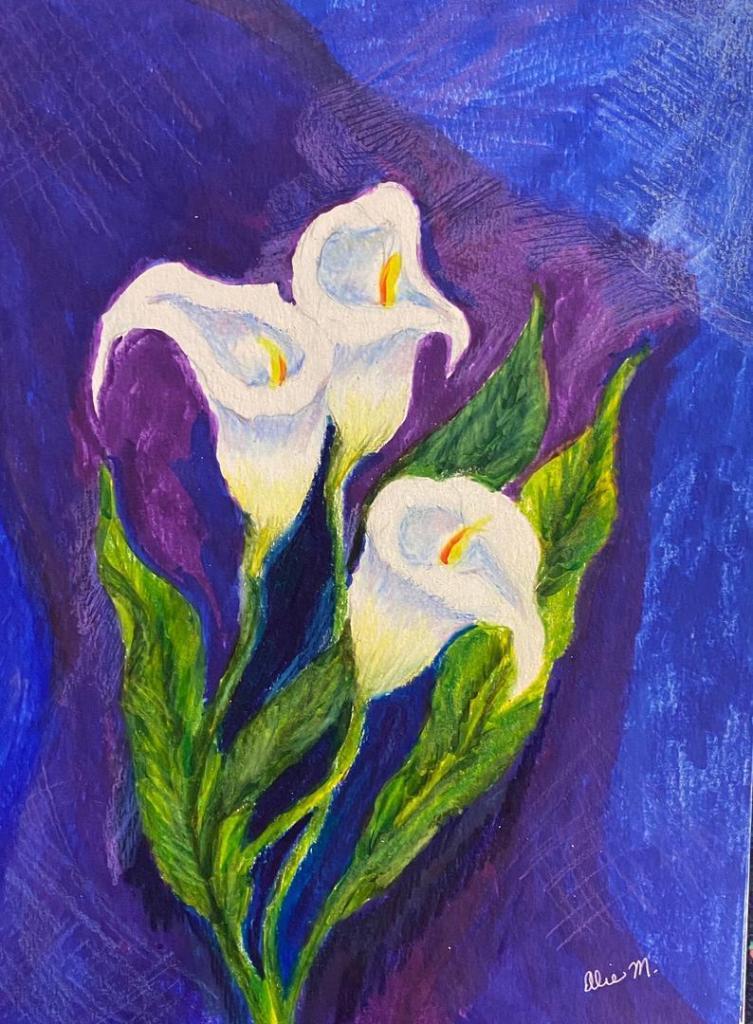 Calla Lilies Original Colored Drawing