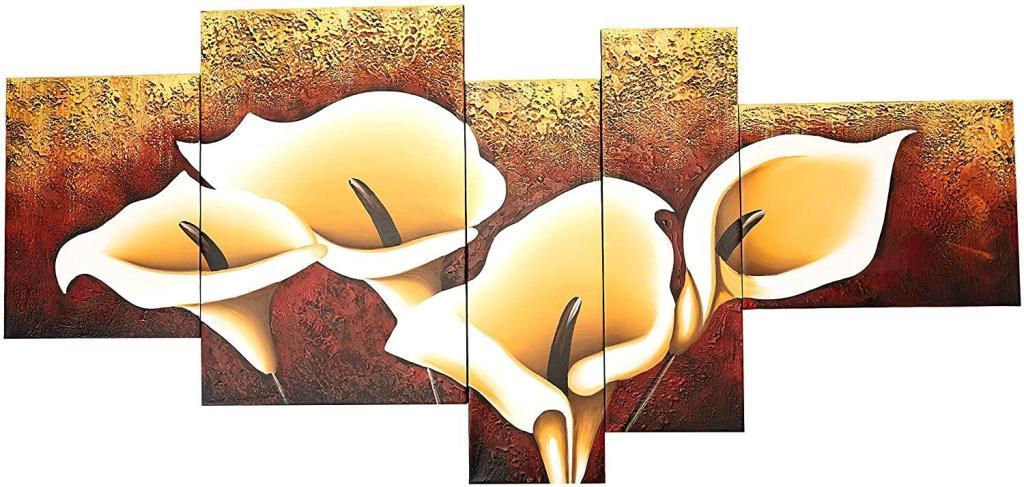 Calla Lily Oil on Canvas 5-Piece Art Set