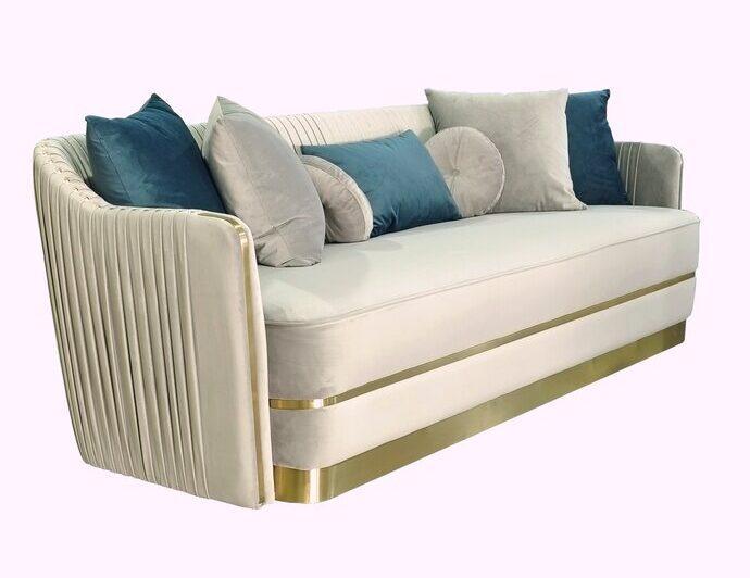 Everly Quinn Northfield Gray & Gold Sofa