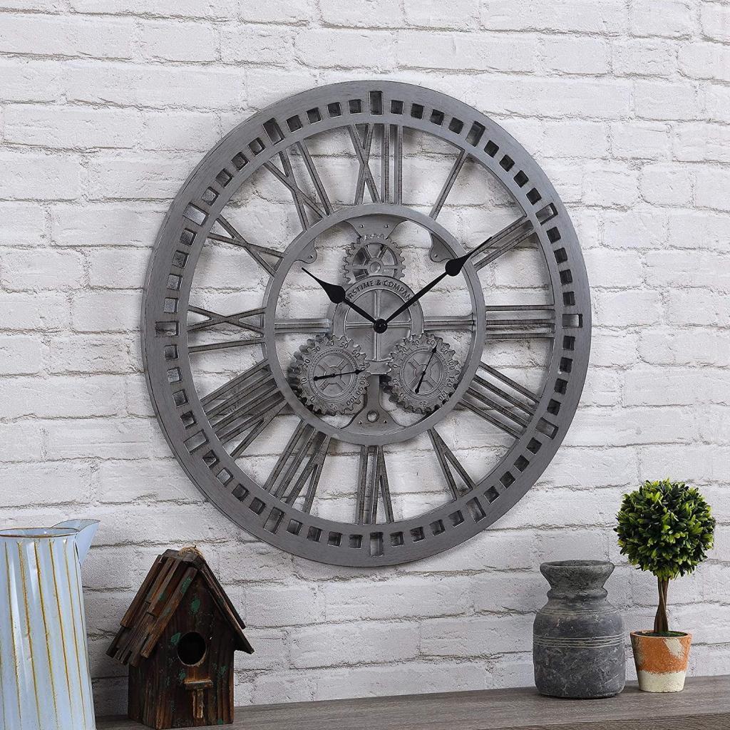 FirsTime & Co Zinc Gears Outdoor Clock