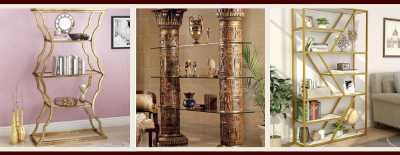 Gold Living Room Furniture | Gold Bookcases & Shelves