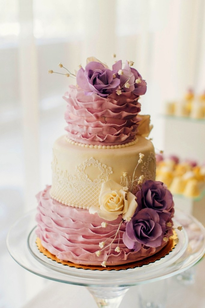 Lavender and Cream Wedding Cake
