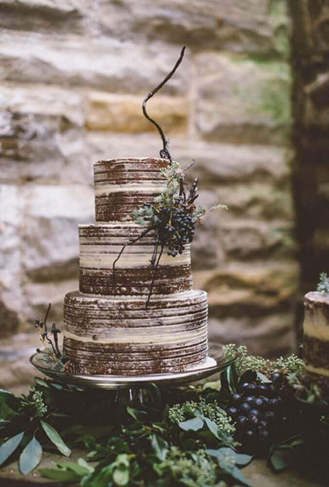 Nearly Naked Chocolate Wedding Cake photo by Colagrossi