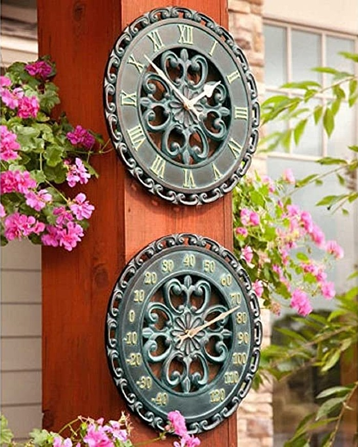 Palos Designs Verdigris Medallion Outdoor Clock and Thermometer Set