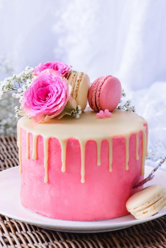 Pink Birthday Cake - Vanilla Drip