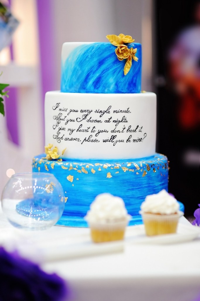Poem Hand-Painted Wedding Cake