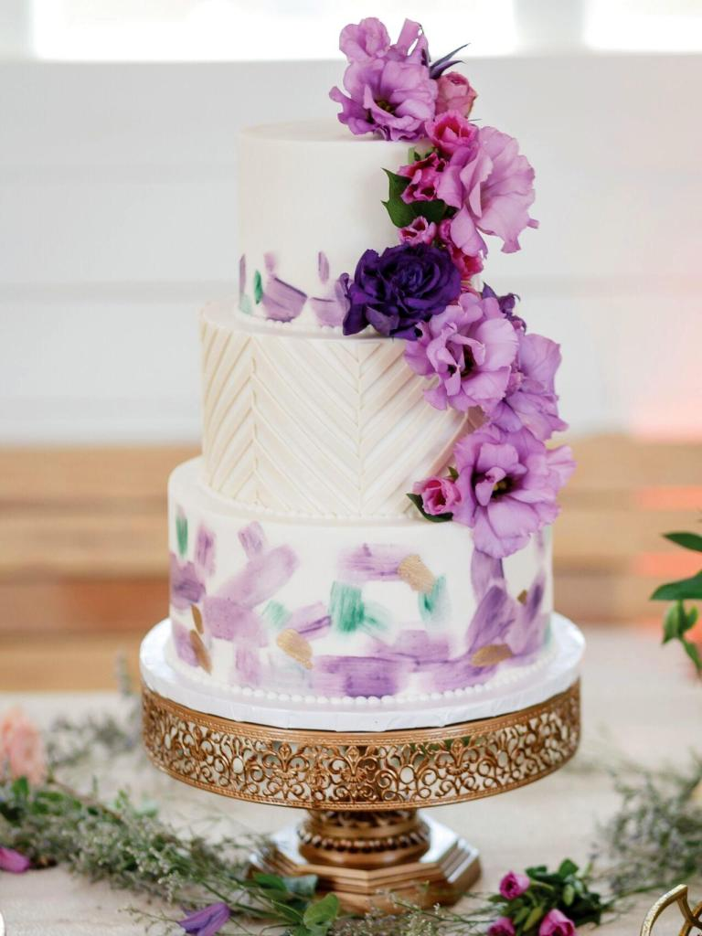 Purple Passion Wedding Cake photo by Jenny DeMarco