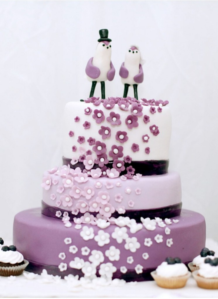 Purple Penguins Wedding Cake