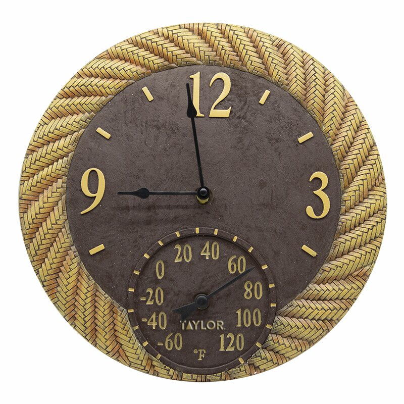 Rattan Outdoor Wall Clock with Thermometer
