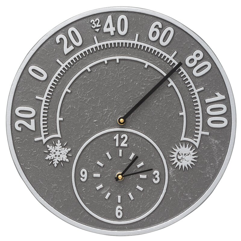 Solstice Outdoor Thermometer with Clock
