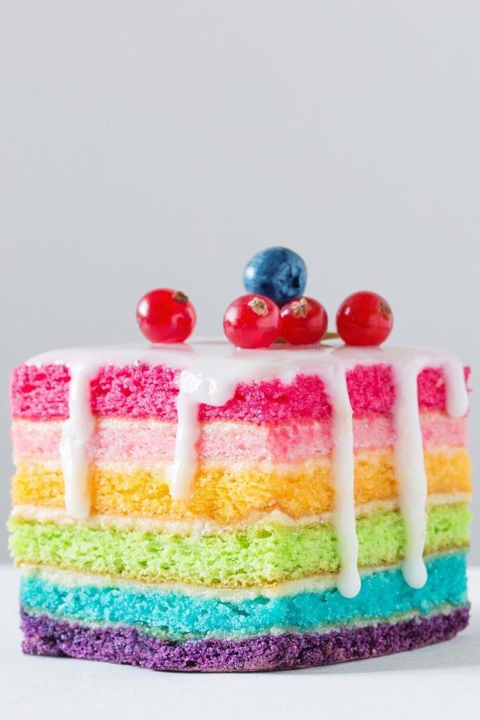Square Naked Rainbow Cake