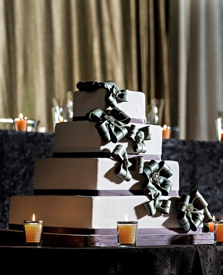 Square Wedding Cake with Gray Bows