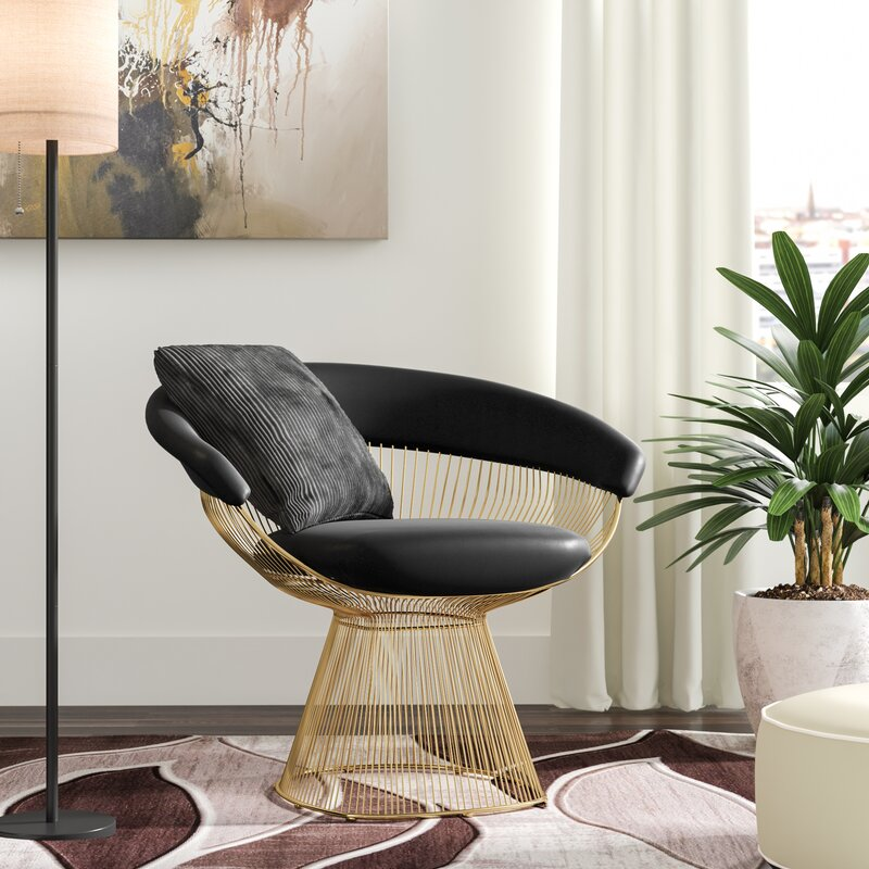Tarver Gold Wire & Black Upholstered Side Chair