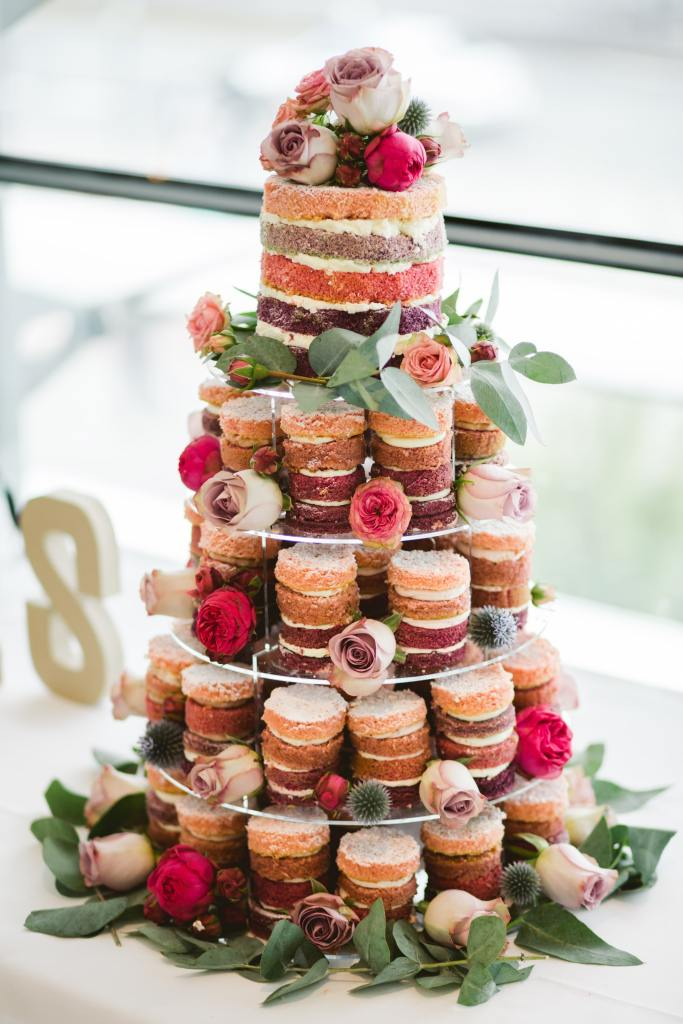 Tower of Mini Naked Wedding Cakes
