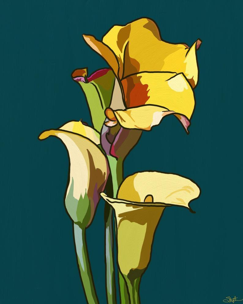 Yellow Calla Lily Digital Art Print