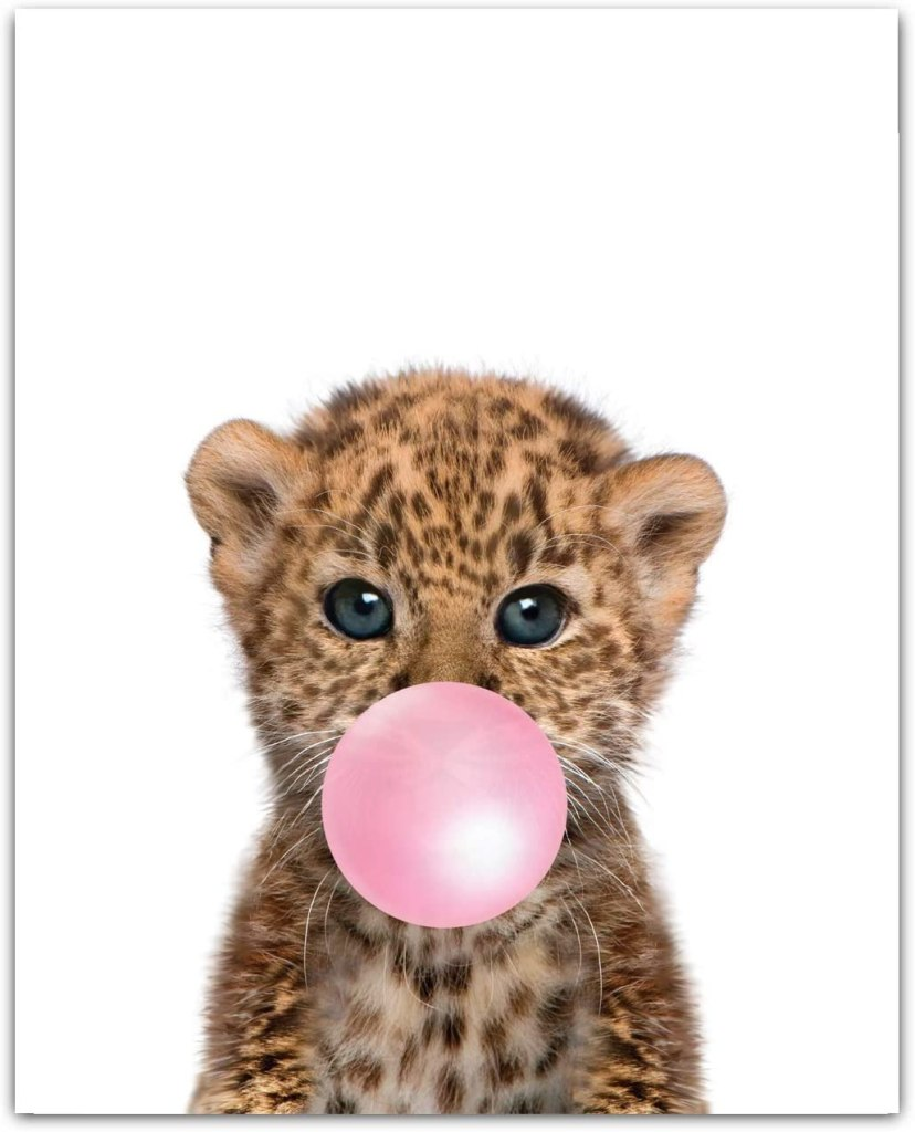 Baby Animals with Bubblegum Cheetah Art Print