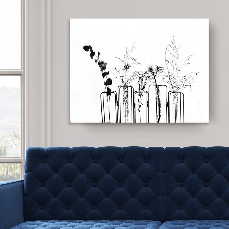 Black Flowers on White Background Art Print on Canvas