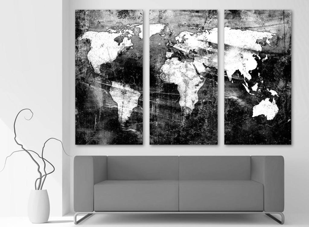 Black & White World Map Canvas Art Print Set