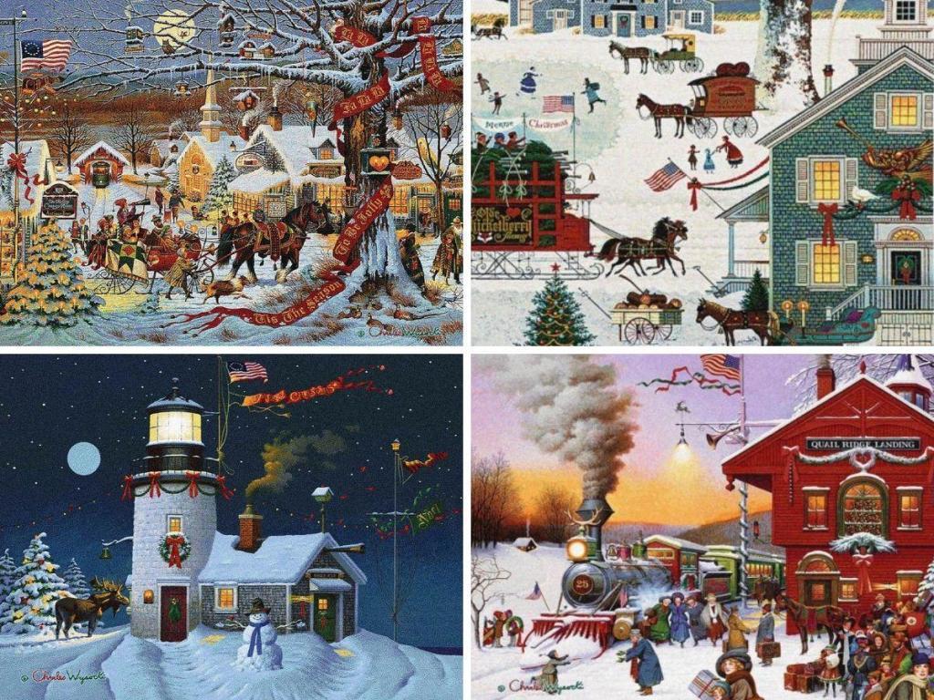 Charles Wysocki Christmas Tapestries