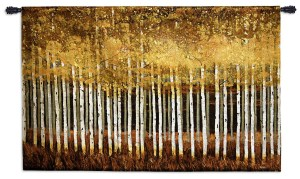 Golden Aspens | Contemporary Landscape Woven Tapestry | 35 x 53