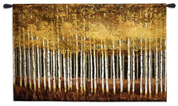 Golden Aspens | Contemporary Landscape Woven Tapestry | 35 x 53