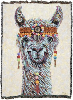 Hippie Llama Woven Tapestry Throw Blanket