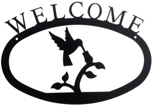 Hummingbird Large Wrought Iron Welcome Sign
