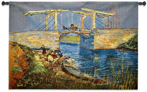 Langlois Bridge at Arles with Women Washing Wall Tapestry | 37 x 53