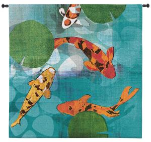 Lucky Koi | Large Woven Tapestry | 60 x 60