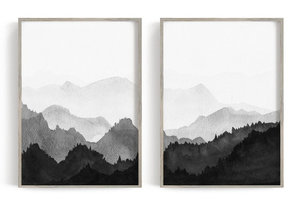 Mountains Black and White Watercolor Art Print