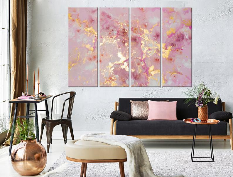Pink & Gold Abstract Art Set