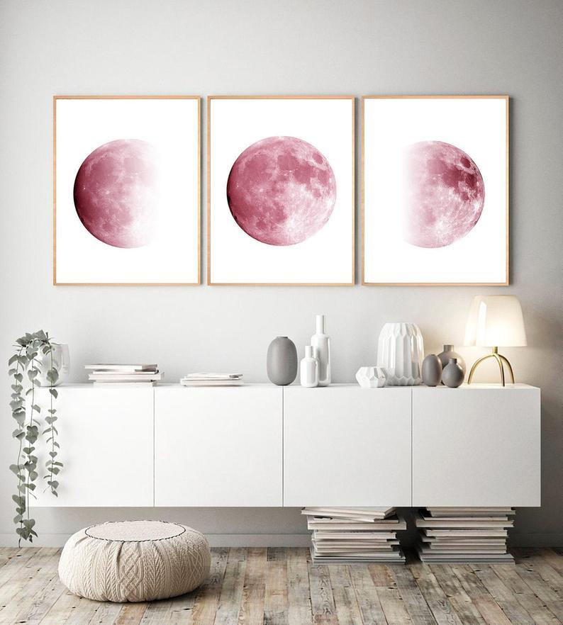 Pink Phases of the Moon Wall Art Set